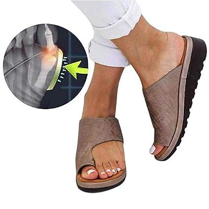 Verano Mujer Sandalias cómodos Plataformas Plana Cuero de PU Zapatillas Corrector de juanetes ortopédico Casuales Antideslizante