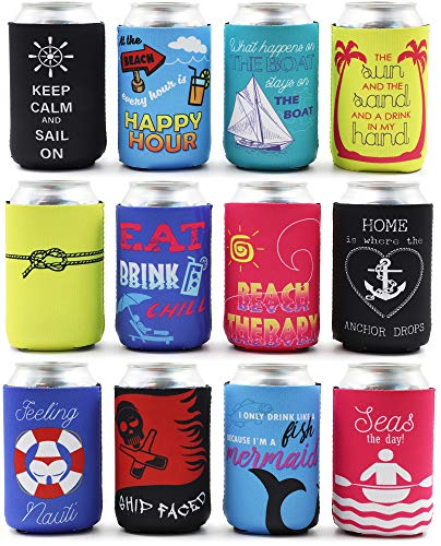 Blue Panda 12-Pack Nautical Beach Theme Insulated Neoprene Beer & Soda Sleeve Covers, Fits 12 Ounce Cans