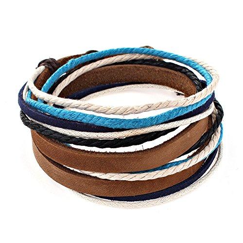Distressed Surfe Lederarmband Leder Armband Wickelarmband blau