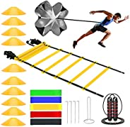 Speed Cones Training & 20ft Agility Ladder Set - Exercise Workout Equipment to Boost Fitness & Increas