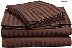 Manualidades con sábanas de algodón egipcio de 300-de-cuenta satén 6 piezas pequeña doble juego de sábanas (+ 30 cm) de profundidad, Chocolate de la raya