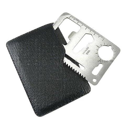 TOOGOO (R) Multifuncion al aire libre Mini Supervivencia en Emergencias tarjeta de credito Cuchillo de camping herramienta 11 en 1