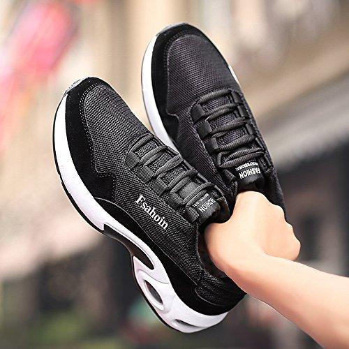 ALIKEEYHombres Color Ventilación Cruz Solido Absorcion Zapatos De De Choque Moda Atado De Gimnasio Negro Ur5SxwqU47