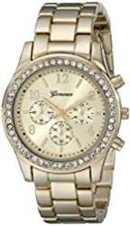 Geneva Women's 2362-gold-GEN  Cubic Zirconia Accented Link Metal Watch