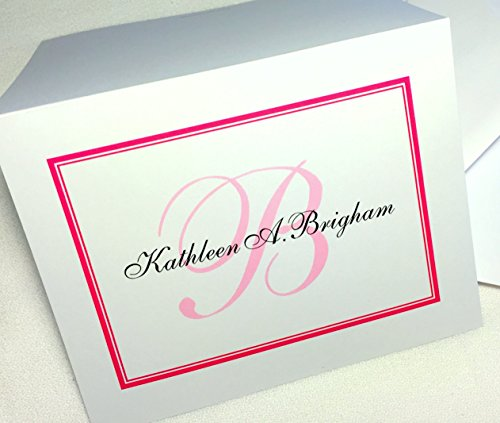 50 Personalized Note Cards with Initial Plus Full Name. Set of 50 Folding Cards with Matching Envelopes. A Great Personalized Gift!