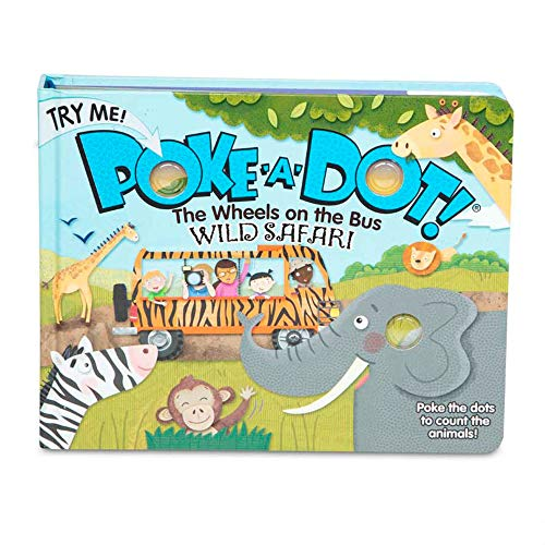 Melissa & Doug Children's Book – Poke-A-Dot: The Wheels On The Bus Wild Safari (Board Book with Buttons To Pop)