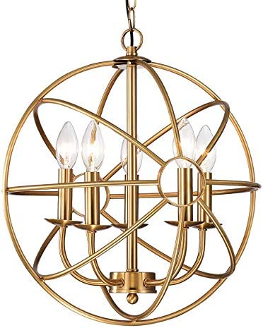 Jojospring Hanover 5-Light Polished Brass Metal Strap Globe Chandelier