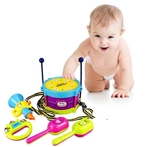 [5X/Set Baby Infant Toddler Developmental Toy Kids drum rattles Educational Toys] (Halloween Costumes For 16 Month Old Girl)