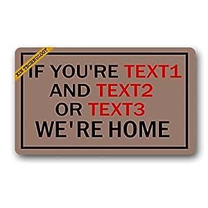 """Artsbaba Doormat Personalized Your Text Door Mat We're Home Doormats Monogram Non-Slip Doormat Non-woven Fabric Floor Mat Indoor Entrance Rug Decor Mat 30"""" x 18"""""""