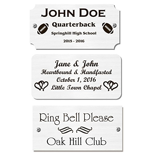 2' H x 4' W, Silver Finish Solid Copper Nameplate Personalized Custom Laser Engraved Label Art Tag for Frames Notched Square or Round Corners Made in USA