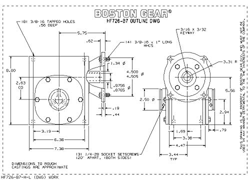 1.55 HP and 1199 in-lbs Output Torque at 1750 RPM NEMA 140TC Flange Input Boston Gear HF72425KB7HP20 Right Angle Gearbox 2.38 Center Distance Hollow Output Shaft 1.250 Bore Diameter 25:1 Ratio