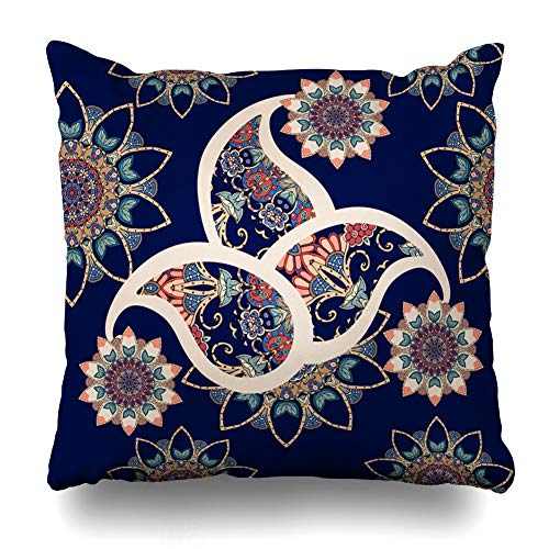 Ahawoso Throw Pillow Covers Ottoman Abstract Paisley Pattern Flowers Indian Vintage Boho Bright Curve Damask Design Ethnic Home Decor Pillowcase Square Size 16