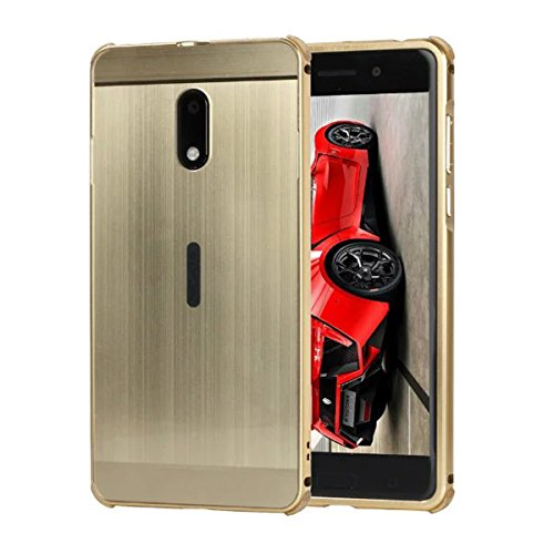 Price comparison product image Nokia 6 case,  Nokia 6 2017 Case , DAMONDY Luxury Ultra thin Metal Brushed Acrylic PC Back Cover Premium Aluminum Shockproof Bumper Case for Nokia 6 Six 2017-Gold