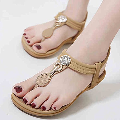 Sandals XIAOLIN Heel Height 2.5cm Summer Rhinestones Clip Toe Comfortable Flat Soft Bottom Set Foot Ethnic Style Shoes Large Size(Optional Size) (Color : 01, Size : EU36/UK3.5/CN35) 01