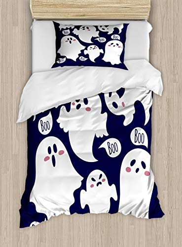 Ambesonne Ghost Duvet Cover Set Twin Size, Scary Ghost Characters Drawn in Cartoon Style with Boo Texts Pattern, Decorative 2 Piece Bedding Set with 1 Pillow Sham, Indigo White and Dried Rose]()