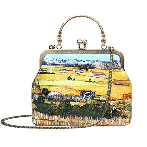 Rejolly Women Leather Vintage Handbag Kiss Lock Top Handle Evening Clutch Purse Crossbody Shoulder Bag Van Gogh Harvest ()