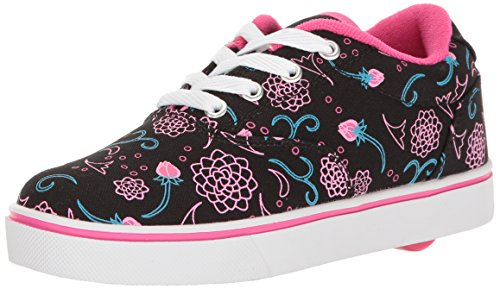 Heelys Girls' Launch Sneaker, Black/Hot Pink/Blue, 1 M US Big Kid by Heelys
