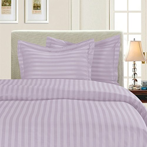 Elegant Comfort Wrinkle & Fade Resistant 1500 Thread Count - Damask Stripes Egyptian Quality Luxurious Silky Soft 3pc Duvet Cover Set, Full/Queen, Lilac
