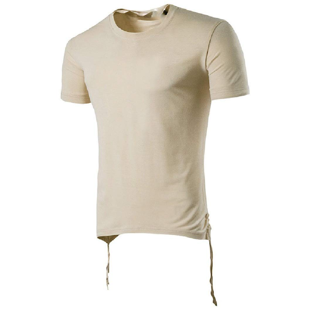 RDHOPE-Men Baggy Solid Color Short Sleeve Trim-Fit Blouse T-Shirt Tops