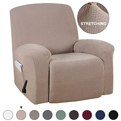 Turquoize Recliner Stretch Sofa Slipcover Sofa Cover Furniture Protector for Recliner Chair Sofa Covers 1 Piece with Pocket Highly Fit for Most Recliner Slipcover (Recliner, Sand)