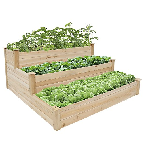Kinbor 3-Tier Wooden Raised Garden Bed Elevated Planter Kit Grow Flower Vegetables by Kinbor