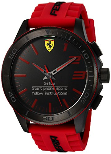 Scuderia Ferrari Men's Quartz Stainless Steel and Silicone Smart Watch, Color:Red (Model: 830376) by Ferrari