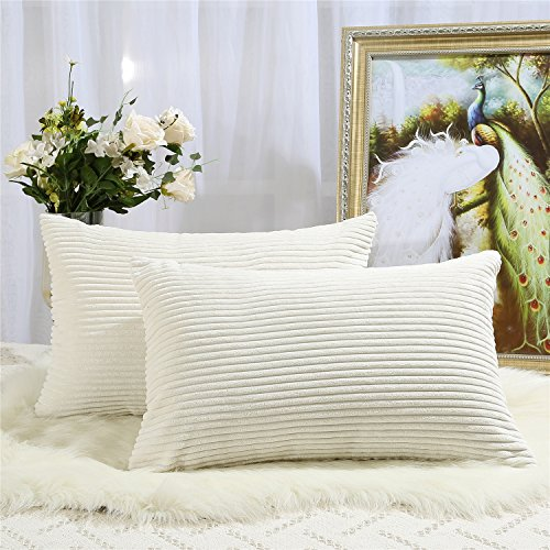 Miaote Pack of 2 Decorative Throw Pillow Covers Cases for Couch Bed Sofa,Striped Corduroy Velvet Cushion Covers for Baby, 16 X 24 Inches,Cream Cheese (Striped Couch)