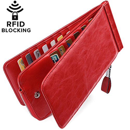 Leather Credit Card Organizer - Huztencor Women's Credit Card Holder RFID Blocking Oil Wax Leather Multi Card Organizer Wallet Slim Long Zipper Bi-fold Business Card Case Clutch Wallet with ID Window Red (FBA)