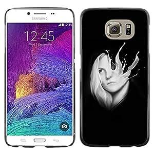 Caucho caso de Shell duro de la cubierta de accesorios de protección BY RAYDREAMMM - Samsung Galaxy S6 SM-G920 - Abstract Milk Splash Girl Sci-Fi
