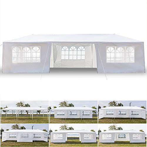 Quklei Canopy Tent, Outdoor Party Event Wedding Tent Waterproof Sun Shelter Canopy White US Stock 3 x 9m Seven Sides