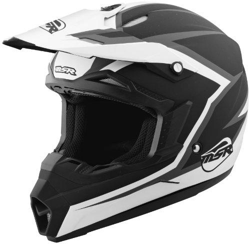 Assault Off Road Helmet - MSR Racing Assault Youth Boys Dirt Bike Motorcycle Helmet - Black/White / Medium