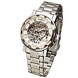 WINNER Retro Fashion Men Women Mechanical Wrist Watch Stainless-Steel Strap Skeleton Roman Numbers W/ Box
