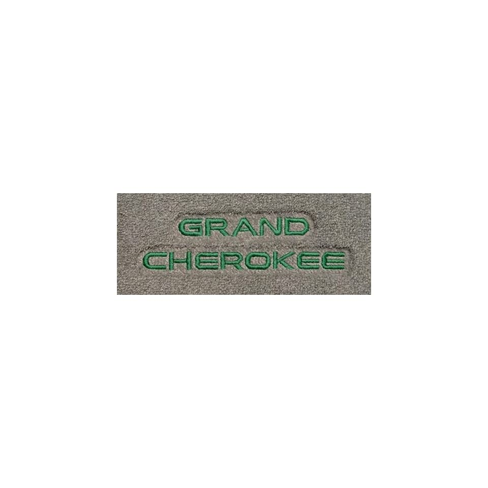 Logo 009  2010 Jeep Grand Cherokee 2 Luxury 2 Pc Front Mats Luxury Cruiser Mat Color Antelope Mat Logo Grand Cherokee Letters Embroidery   Green