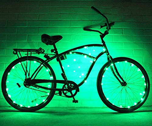 Bike Wheel Lights 2 PACK – Colorful Light Accessory For Bike – Perfect For Burning Man Festivals Green