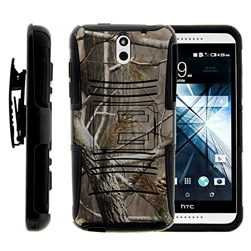 HTC Desire 610 Case, HTC Desire 610 Holster, Two Layer Hybrid Armor Hard Cover with Built in Kickstand for HTC Desire 610 (AT&T) from MINITURTLE | Includes Screen Protector - Hunter Camouflage
