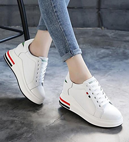 Leather Girls Heels height Platform Trainers Casual GFONE Hidden Shoes Increase Wedge Women's GreenStar npWgx6wcZ