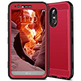 lg 3 bumper - LG Stylo 3 Case, CinoCase LG Stylo 3 Plus Case Heavy Duty Armor Protective Case Hybrid TPU Bumper Shockproof Case with Brushed Metal Texture Hard PC Back for LG Stylo 3 / LG Stylo 3 Plus Red