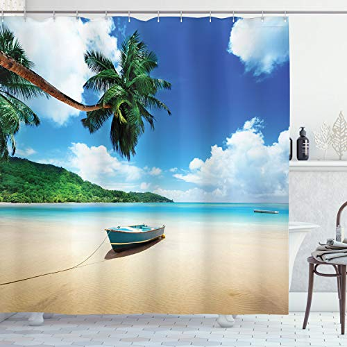Ambesonne Beach Shower Curtain, Boat on The Beach Mahe Island Lagoon Seychelles Exotic Shoreline Image, Cloth Fabric Bathroom Decor Set with Hooks, 70