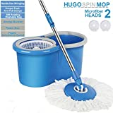 Hugo Bucket Magic Spin Mop Double Drive Hand Pressure With 2 Microfiber Mop Head Household Floor Cleaning (With Soap Dispenser) (Color May Vary)