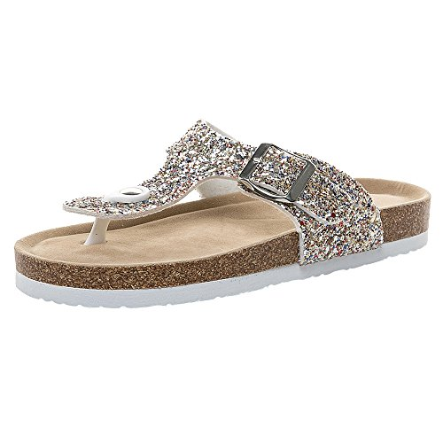 ◕‿◕ Watere◕‿◕ Women's Casual Comfort Buckle T Strap Thong Strap Sandals Flip Flop Platform Footbed Gold
