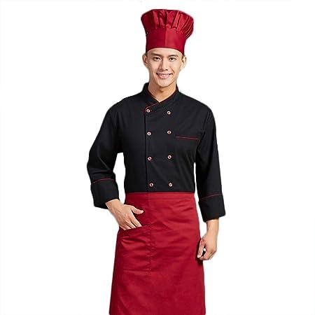 WYCDA Camisa de Cocinero Cocina Uniforme Manga Larga Blanco Negro Sección Delgada Transpirable Disfraz de Chef Sin Desvanecimiento Protección del Medio Ambiente,Negro,XXXXL: Amazon.es: Hogar