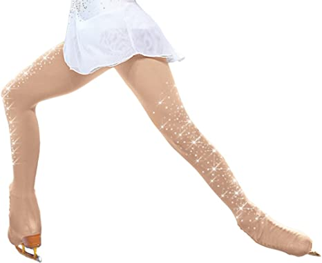 7a80a02049d26 ChloeNoel Figure Skating Over The Boot Tights with Crystals on Both Legs  TB8832 (Light Tan