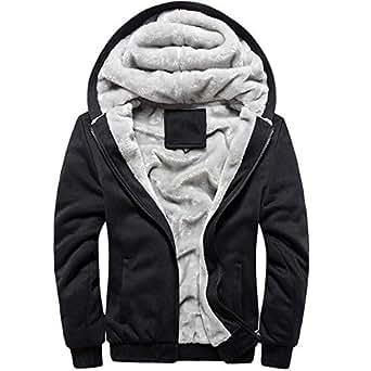 MANLUODANNI Men's Solid Hooed Hoodies Thick Wool Warm Winter Jacket Coats Black S