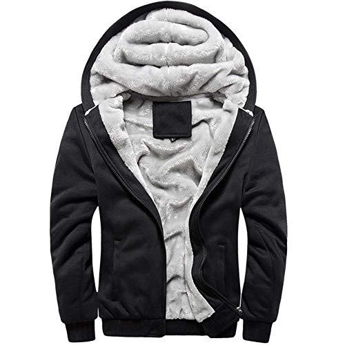 MANLUODANNI Men's Fleece Hooed Hoodies Thick Wool Warm Winter Jacket Coats Black XXL