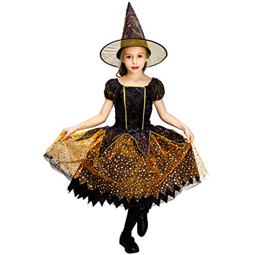 Childrens Halloween Fancy Dress (PGOND Girls Witch Dress Kids Halloween Fancy Dress Costume (10-12))