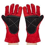 Eagles(TM)Premium Cowhide Leather Heat Resistant Gloves, Long 14 inch Forearm Protection for Grilling, Wood-burning Stoves, Flame Retardant Heavy Duty Welding,BBQ (Color: Red)