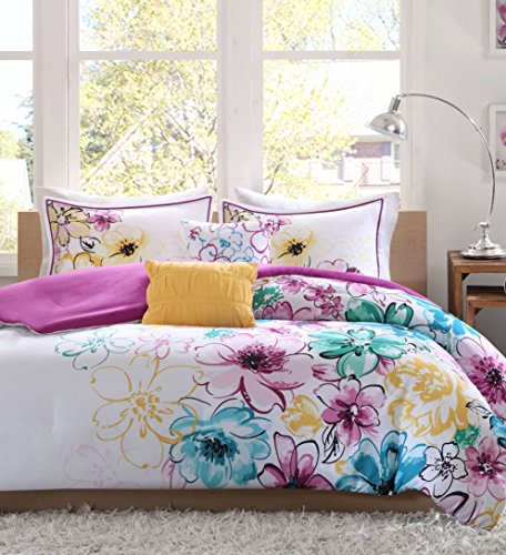 Fun Girls Teen Comforter Bedding Set Bright Floral Flowers Pink Purple Aqua Teal Blue Green Yellow White Bedroom Bed for Girl Teens Kids Cheery Sets & Home Style Sleep Mask (Twin/Twin XL) by Home Style (Image #1)
