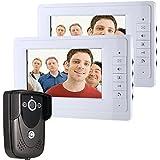 Ennio 7 Inch Video Door Phone Doorbell Intercom Kit 1-camera 2-monitor Night Vision Black