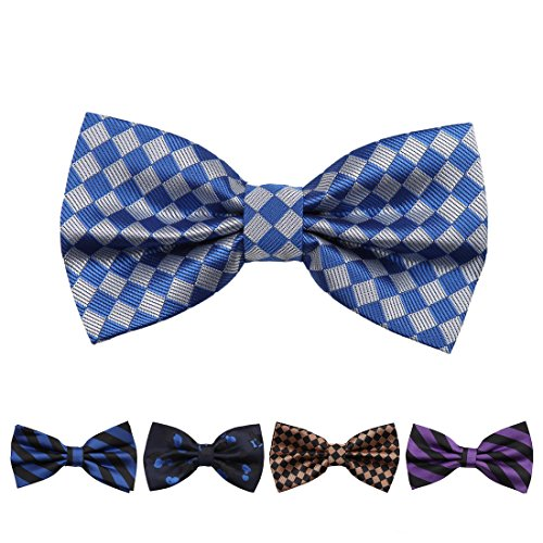 Epoint Mens Fashion Multicolored Microfiber Patterned Pre-tied Bowtie Set