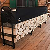 Adjustable Firewood Rack 12 F Heavy Duty Rack With Polyester Cover Protection Firewood Holder Storage Steel Frame Rack Adjusted Outdoor Patio Simple Rustic Sturdy And Durable Black & eBook By NAKSHOP